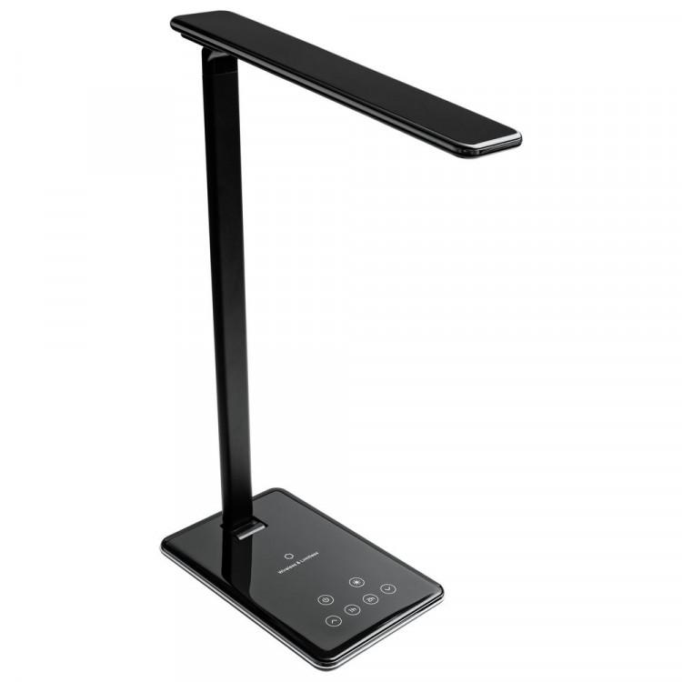 Настольная лампа с беспроводной зарядкой Power Spot, черная | Многоформатная типография Процвет